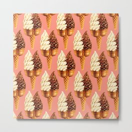 Ice Cream Pattern - Pink Metal Print