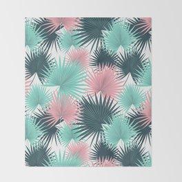 Pastel Palm Leaves Throw Blanket