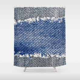 Denim frame. Ripped denim fabric with fringe edge on bleached denim background, text place, copy space. Worn Jeans Casual Double Color patch. Classic blue denim pattern texture  Shower Curtain