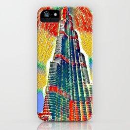 Colorful Burj Khalifa painting iPhone Case