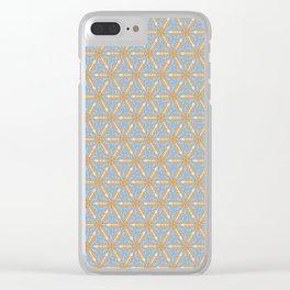 Patterns: Blue Orange Flowers Clear iPhone Case