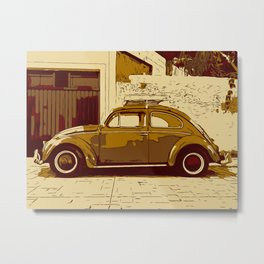 Beetle in front of wall and garage Metal Print