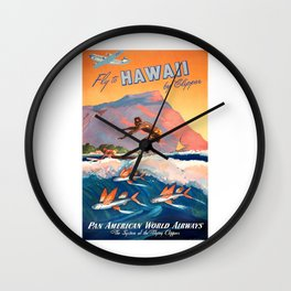 1947 Fly To Hawaii By Clipper Pan American Travel Poster Wall Clock