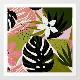 Tropical Flowers and Foliage 1940s Hollywood Bungalow Style Art Print