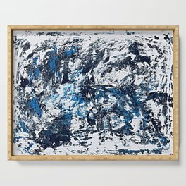 Cool Blue Abstract Crackles Serving Tray