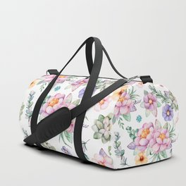 Pastel pink lavender green watercolor hand painted floral Duffle Bag