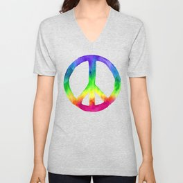 Rainbow Watercolor Peace Sign Unisex V-Neck