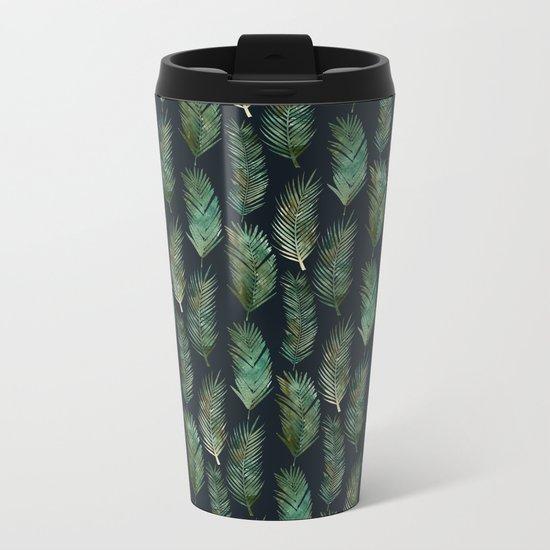 Tropical Pattern at Night Metal Travel Mug