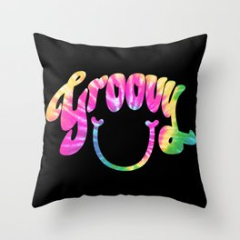 Groovy Smile // Tie-dye Black Fun Retro 70s Hippie Vibes Green Yellow Pink Lettering Typography Art Throw Pillow