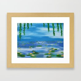 monet style water lillies lilys lilies nympheas impresionist pond sky willow lily pads lilly pad Framed Art Print