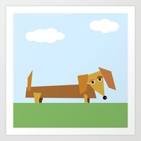 dachshund Art Prints featuring Dachshund by They Come Along