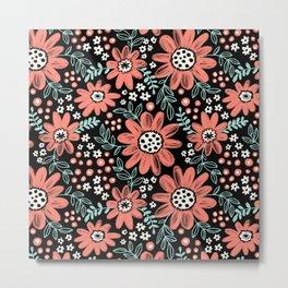 Chalkboard Floral Metal Print