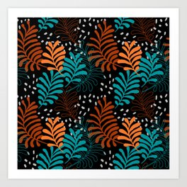 botanical colorful turquoise blue orange yellow burgundy autumn leaf print Art Print