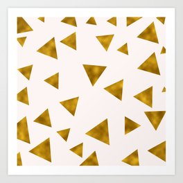 Soft Pink And Rustic Gold Triangles Art Print