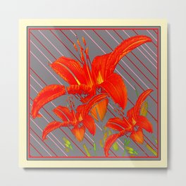 Red Abstracted Day Lilies On Grey Striped Art Metal Print