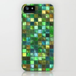 Green and Yellow Square Tile Pattern iPhone Case