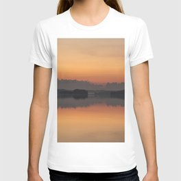 Sunset colors and reflection on the lake surface - magical atmosphere in Scandinavian night #decor # T-shirt