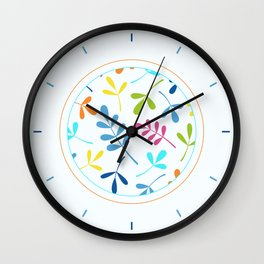 Multicolored Assorted Leaf Silhouettes Wall Clock