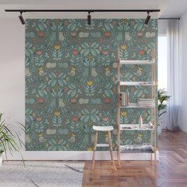 Swedish Folk Cats Wall Mural