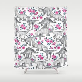 Dinosaurs and Roses - white Shower Curtain
