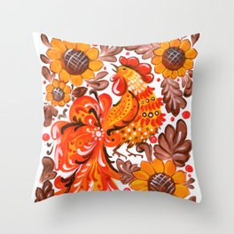 Rooster in Sunflowers - Ukrainian Folk Art Traditional Painting Throw Pillow