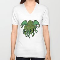 cthulhu V-neck T-shirts featuring Cthulhu by missmonster