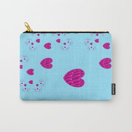 Sacred Geometry Art- Fractal Art-Cotton Candiez- Heart Art-Blue Art- Pink Hearts- Pattern Carry-All Pouch