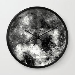 Deja Vu - Black and white, textured painting Wall Clock