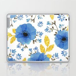 Blue flowers with golden leaves Laptop & iPad Skin