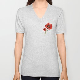Watercolour Poppies Unisex V-Neck