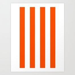 Vertical Stripes - White and Dark Orange Art Print