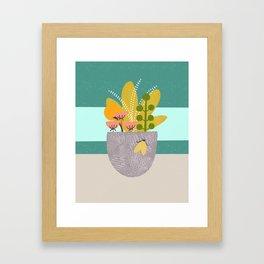 Succulent Garden with Moth Framed Art Print