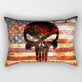 Punisher Themed Skull on Rusted American Flag Rectangular Pillow