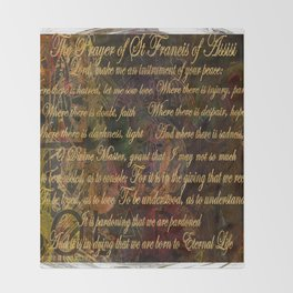 The Prayer of St Francis of Assisi Throw Blanket