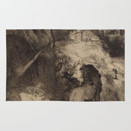 Saint Jerome Reading in an Italian Landscape Rug