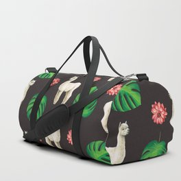 Monstera & llamas Duffle Bag