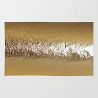 gold foil Area & Throw Rugs featuring Golden Foil by The Wellington Boot
