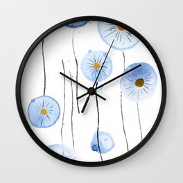 blue abstract dandelion 2 Wall Clock