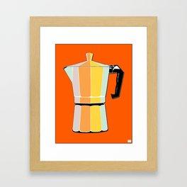 Retro Coffee Pot - Vintage Spring Colors on Burnished Background Framed Art Print