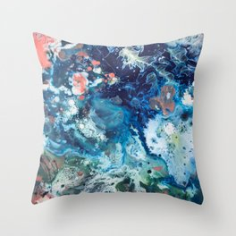 Color Commentary #15: Genesis (Teal {more blue than green} & Salmon) [Brianne Villano] Throw Pillow