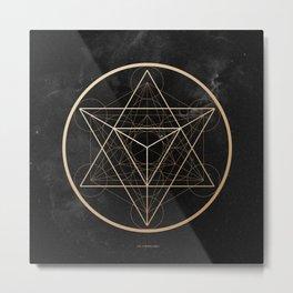 Mi Merkaba - Geometry - Gold on cosmic Metal Print