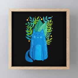Cat and foliage - blue, green and black background Framed Mini Art Print