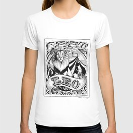 leo horoscope pointed pen & ink illustration T-shirt