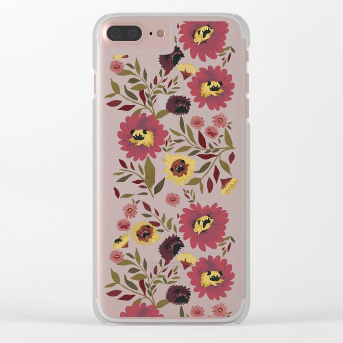 PUGS FLORAL Clear iPhone Case