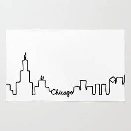 Chicago Skyline Abstract Sketch Rug