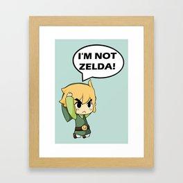 I'm not Zelda! (link from legend of zelda) Framed Art Print