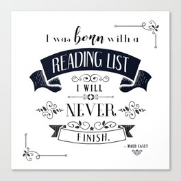 Born With a Reading List - White Canvas Print