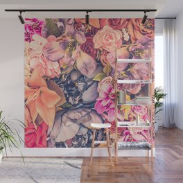 Beautiful background with different flowers Wall Mural