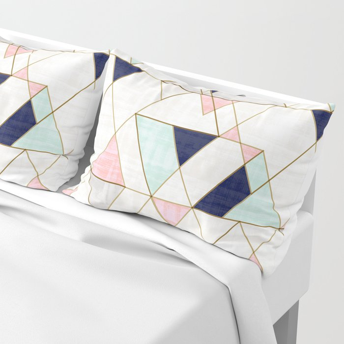 Mod Triangles - Navy Blush Mint Pillow Sham