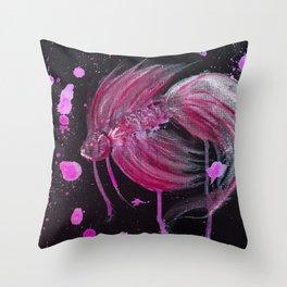 Fuschia Splatter Betta Throw Pillow